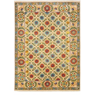 """Suzani, Hand Knotted Area Rug - 5' 2"""" x 7' 2"""""""