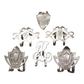 Antique Silver Napkin Clips - Set of 6