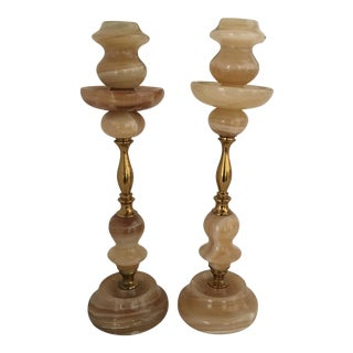 Art Deco Italian Alabaster Candleholders - A Pair
