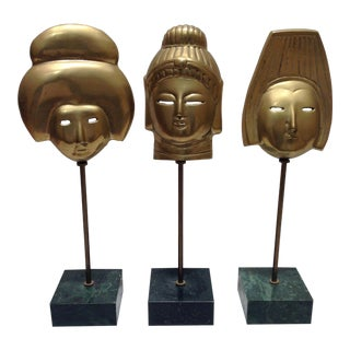 Brass Faces on Marble Stands - Set of 3