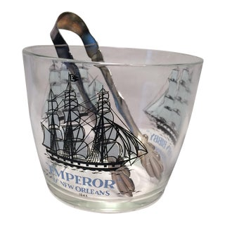 Vintage Ships Ice Bucket and Ice Tongs