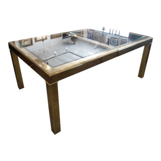 Mastercraft Brass & Glass Dining Table With Leaf