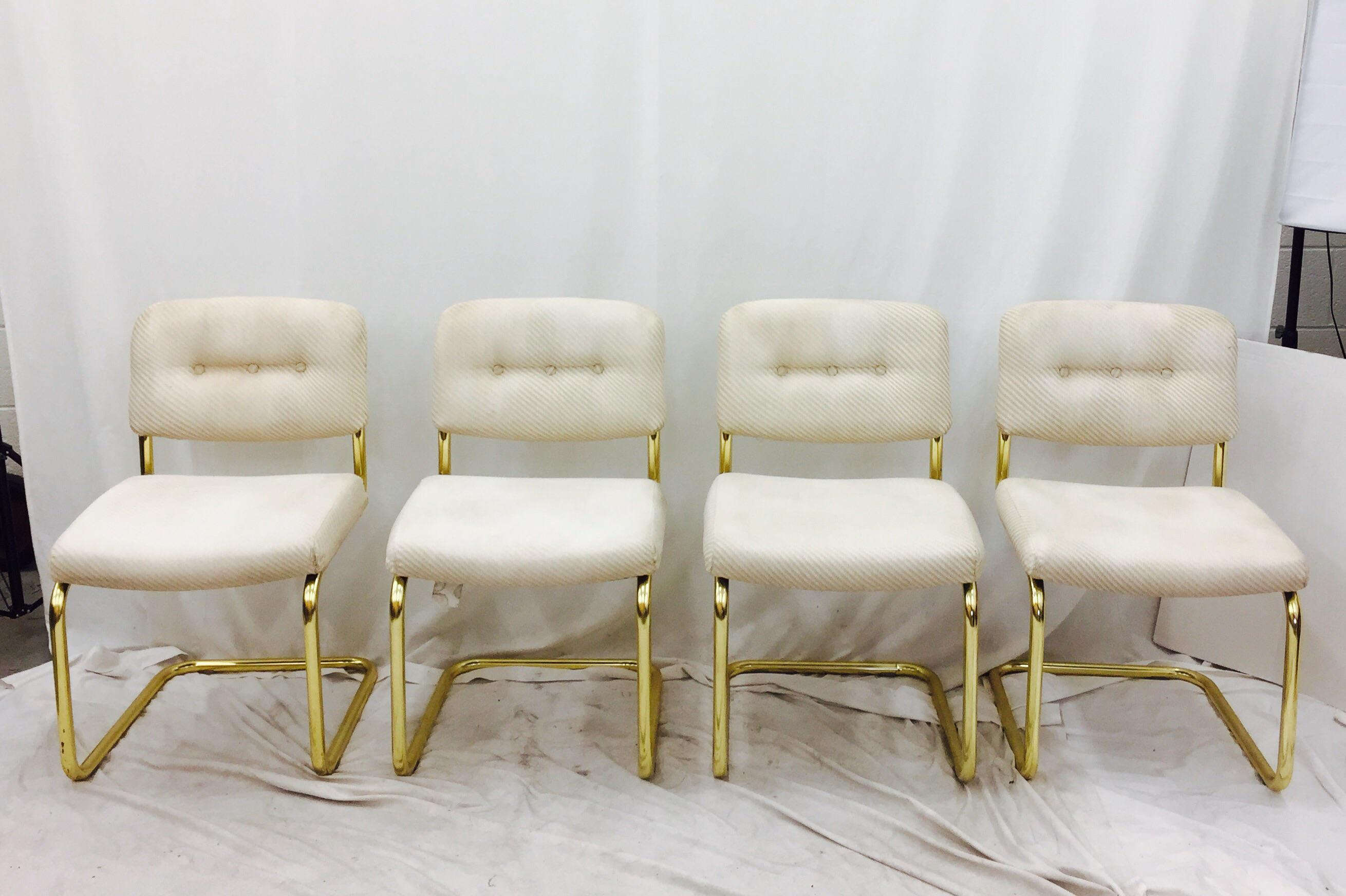Vintage Lacquered Brass Chrome Craft Dining Chairs   Set Of 4   Image 2 Of 9