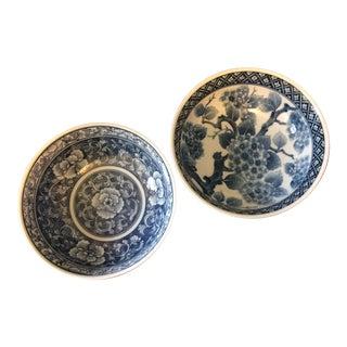 Vintage Blue & White Decorative Bowls - A Pair