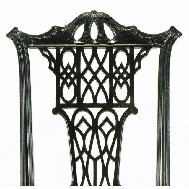 Eight Chinese Chippendale Ebonized Mahogany Dining Chairs with Leather Seats - Image 7 of 9