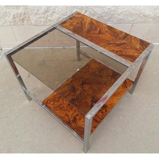Mid Century Chrome Burl Wood Side Table   Image 3 of 7. Mid Century Chrome Burl Wood Side Table   Chairish
