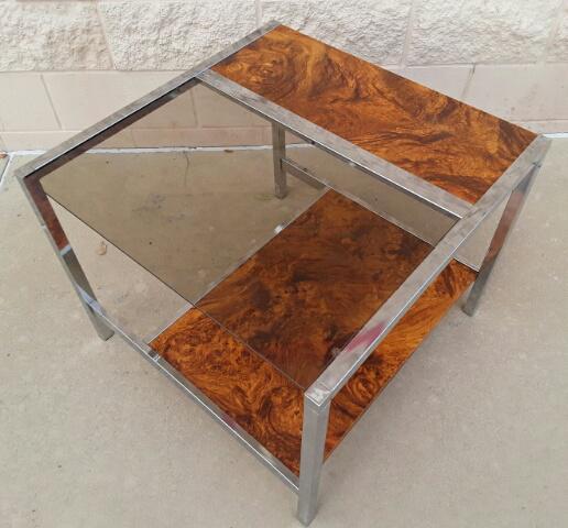 Mid Century Chrome Burl Wood Side Table   Image 3 Of 7