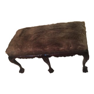 Faux Wolf Fur Clawfoot Bench