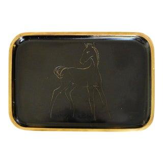 "Mid-Century ""Horse"" Brass Tray by Hagenauer"