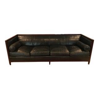 Baker Archetype Wood Banded Leather Sofa