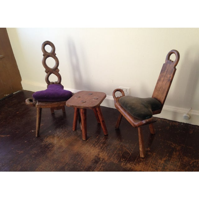 Primitive Carved Chairs & Stool - Set of 3 - Image 7 of 10
