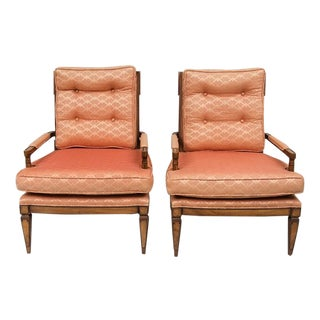 Mid-Century Peach Upholstered Arm Chairs - Pair