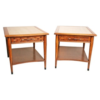 Danish Modern Wood Stone Top End Tables - Pair