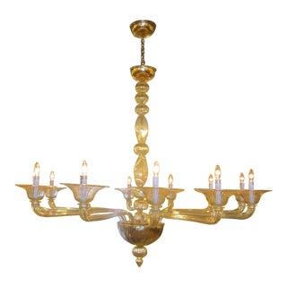 Large Handblown Murano Glass Chandelier Attributed to Venini