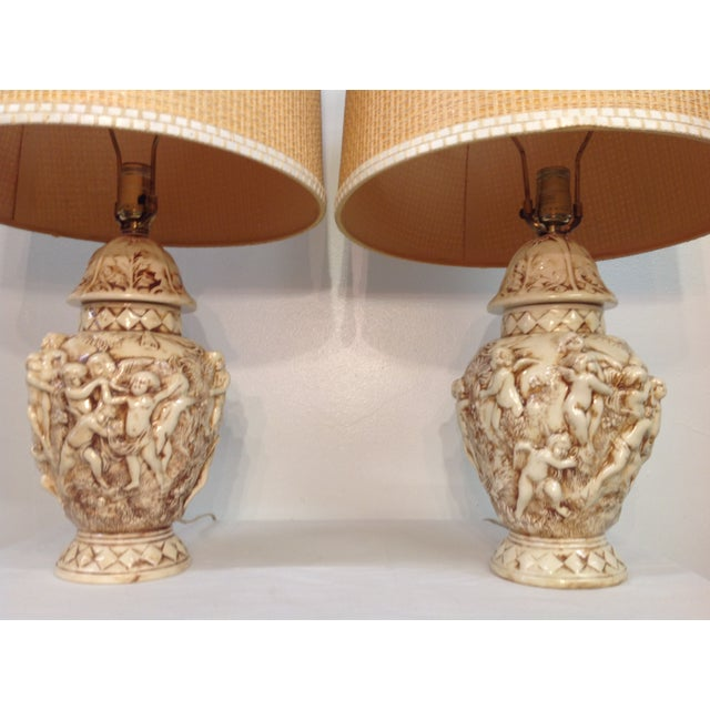 Majolica Porcelain Cherub Relief Lamps - Pair - Image 3 of 9