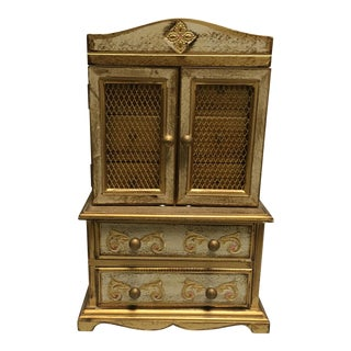 Florentine Style Jewelry Music Box Armoire