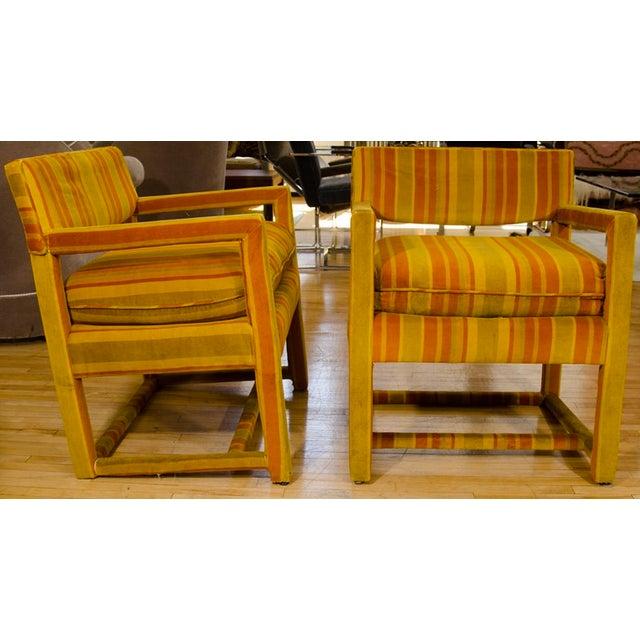 Mid-Century Orange Striped Velvet Armchairs - Pair - Image 4 of 10