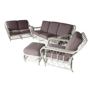 Vintage Lavender-Gray Wicker Patio Set - Set of 4