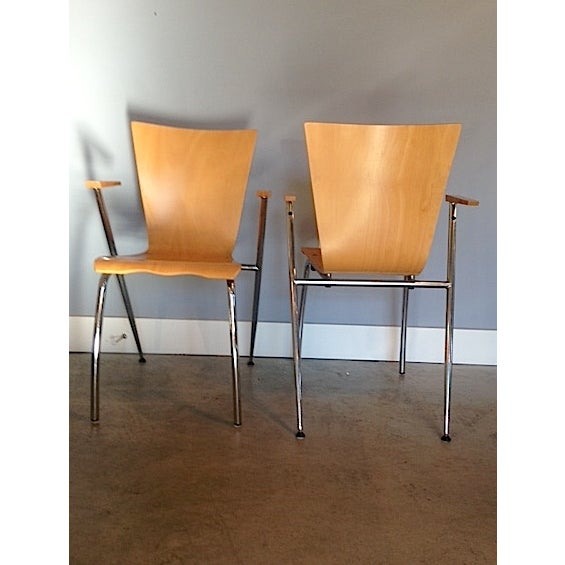 Image of Gordon International Bentwood Arm Chairs - Pair