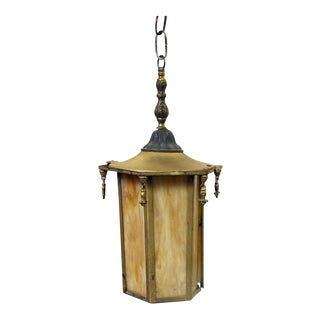 Orange Slag Glass & Brass Lantern