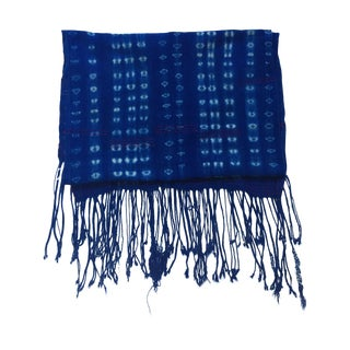 Vintage African Indigo Fringe Throw