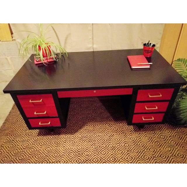 Mid-Century Black & Red Solid Wood Desk - Image 10 of 11