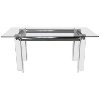 1970's Vintage Lucite & Chrome Tubular Dining Table or Desk