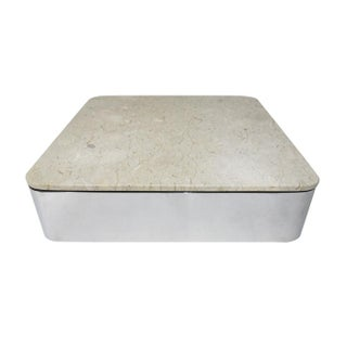 Ira Grayboff for Brueton Marble Top Floating Stainless Steel Coffee Table