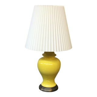 Vintage Canary Yellow Ginger Jar Table Lamp