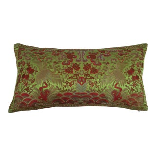 Chinoiserie Silk Crane Boudoir Pillow