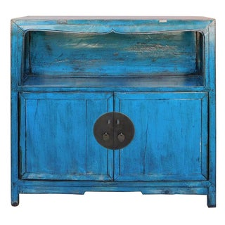 Distressed Chinese Blue Narrow Console Cabinet