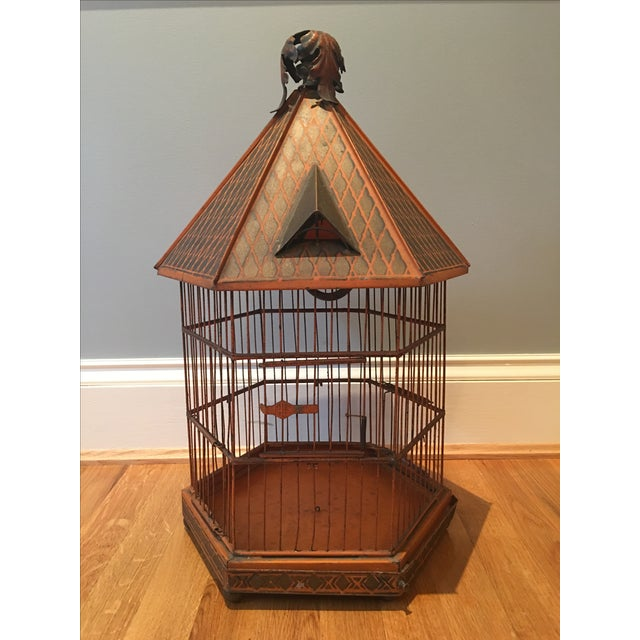 Antique 1920s Pnf Birdcage & Decorative Stand - Image 8 of 9