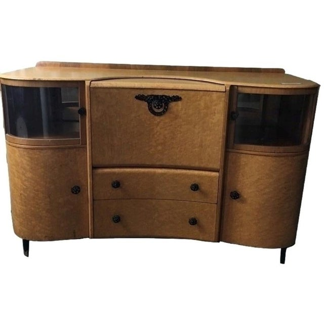 Art Deco Style Burlwood Maple Fall-Front Bar - Image 1 of 7