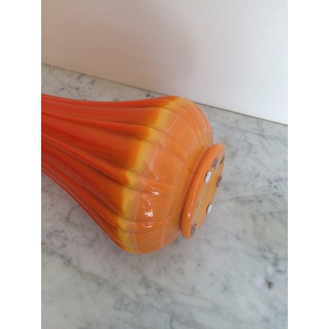 Image of Mid-Century Orange Viking Ribbed Slung Glass Vase