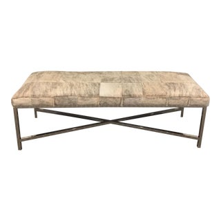 Massoud Hide Bench with Silver Legs