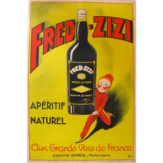 1932 Vintage French Art Deco Fred Zizi Alcohol Poster