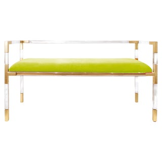 Green Velvet & Lucite Bench