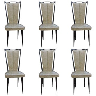 French Art Deco Ebonized Dining Chairs - Set of 6 Circa 1940s.