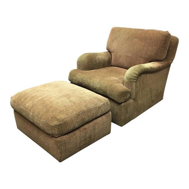 J.F. Fitzgerald Tweed Chair & Ottoman - Image 1 of 6