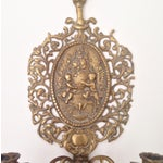 Image of Ornate Brass Wall Sconces - A Pair
