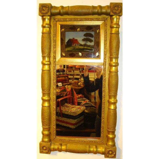 Image of 19th Century Gilded Mirror with Reverse Painted Glass