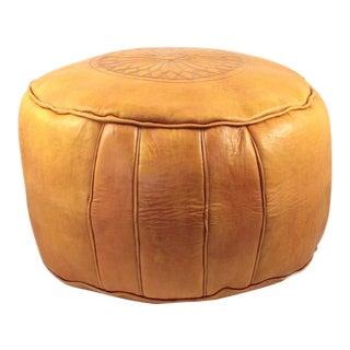 Yellow Moroccan Leather Pouffe Ottoman
