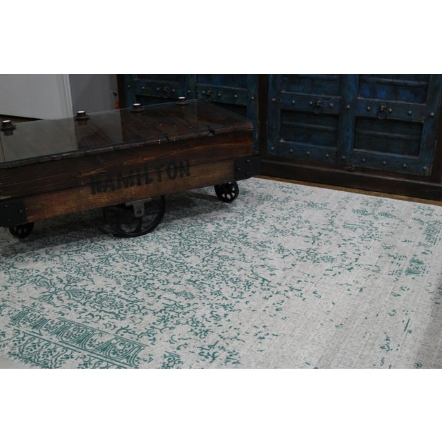 "Teal Distressed Patterned Rug - 8'x10'7"" - Image 5 of 7"