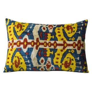 Multicolor Silk Velvet Ikat Accent Pillow