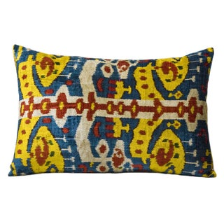 Multicolor Silk Velvet Ikat Accent Pillow