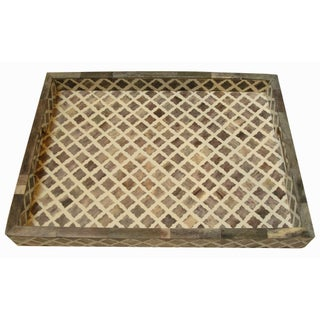 Large Moroccan Pattern Inlaid Bone Tray