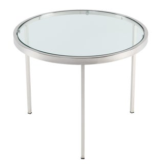 MILO BAUGHMAN ROUND CHROME SIDE TABLE WITH INSET GLASS TOP, CIRCA 1970S