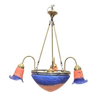 Vintage Art Glass Dome Chandelier