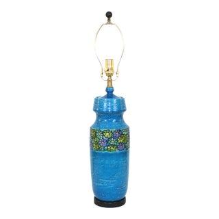 Aldo Londi for Bitossi Modern Blue Pottery Lamp