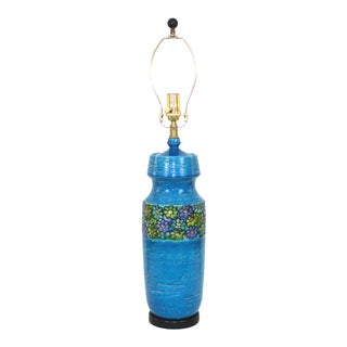 Aldo Londi for Bitossi Modern Blue Pottery Lamp